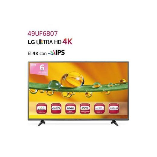 "LG 49UF6807 - Televisor LED de 49"" con Smart TV 4K, 900 Hz, 16:9, DVB-S2, HDMI, USB negro"
